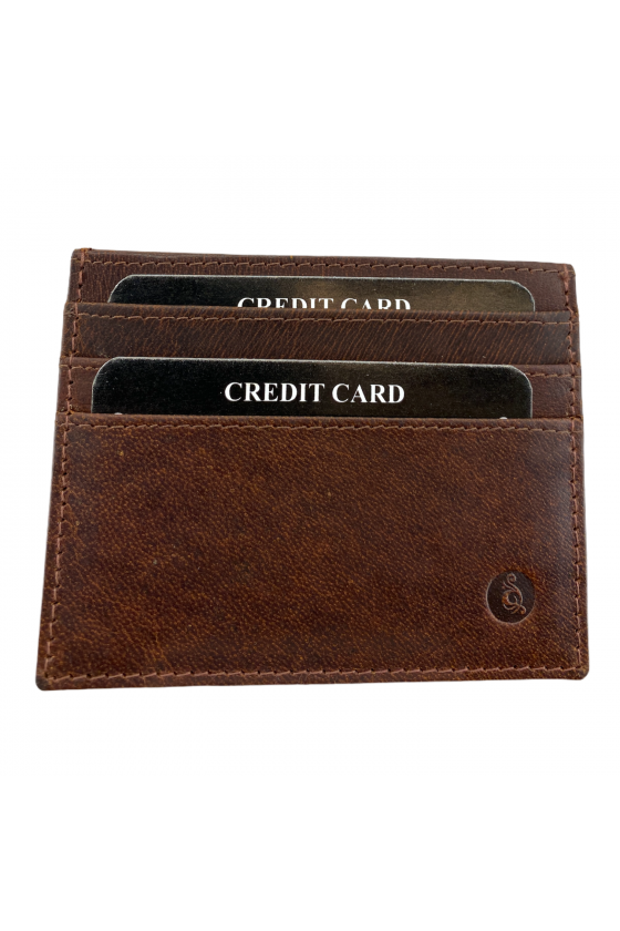 Porte-cartes en cuir marron